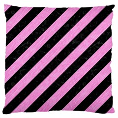 Stripes3 Black Marble & Pink Colored Pencil (r) Large Cushion Case (one Side) by trendistuff