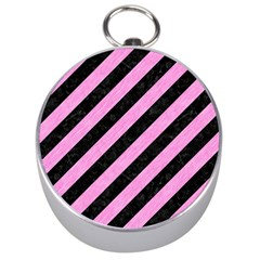 Stripes3 Black Marble & Pink Colored Pencil (r) Silver Compasses by trendistuff