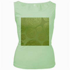 Modern, Gold,polka Dots, Metallic,elegant,chic,hand Painted, Beautiful,contemporary,deocrative,decor Women s Green Tank Top