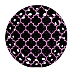 Tile1 Black Marble & Pink Colored Pencil (r) Ornament (round Filigree) by trendistuff
