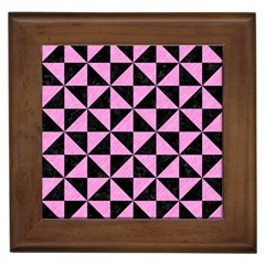 Triangle1 Black Marble & Pink Colored Pencil Framed Tiles by trendistuff