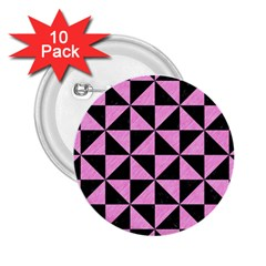 Triangle1 Black Marble & Pink Colored Pencil 2 25  Buttons (10 Pack)  by trendistuff