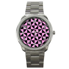Triangle1 Black Marble & Pink Colored Pencil Sport Metal Watch by trendistuff