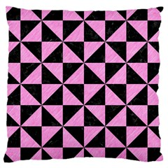 Triangle1 Black Marble & Pink Colored Pencil Large Cushion Case (one Side) by trendistuff