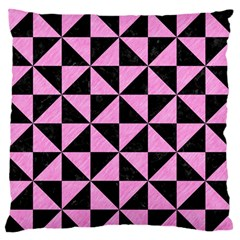 Triangle1 Black Marble & Pink Colored Pencil Large Flano Cushion Case (one Side) by trendistuff