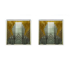 Art Nouveau Gold Silver Cufflinks (square)