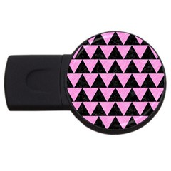 Triangle2 Black Marble & Pink Colored Pencil Usb Flash Drive Round (4 Gb) by trendistuff