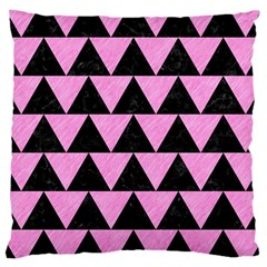 Triangle2 Black Marble & Pink Colored Pencil Large Cushion Case (one Side) by trendistuff