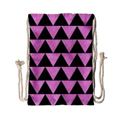 Triangle2 Black Marble & Pink Colored Pencil Drawstring Bag (small) by trendistuff