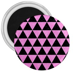 Triangle3 Black Marble & Pink Colored Pencil 3  Magnets by trendistuff