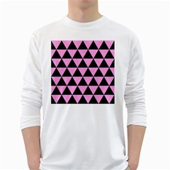 Triangle3 Black Marble & Pink Colored Pencil White Long Sleeve T Shirts by trendistuff