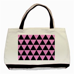 Triangle3 Black Marble & Pink Colored Pencil Basic Tote Bag (two Sides) by trendistuff