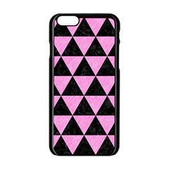 Triangle3 Black Marble & Pink Colored Pencil Apple Iphone 6/6s Black Enamel Case by trendistuff