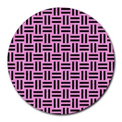 Woven1 Black Marble & Pink Colored Pencil Round Mousepads by trendistuff