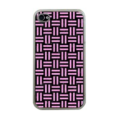 Woven1 Black Marble & Pink Colored Pencil (r) Apple Iphone 4 Case (clear)