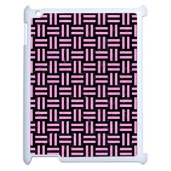 Woven1 Black Marble & Pink Colored Pencil (r) Apple Ipad 2 Case (white) by trendistuff