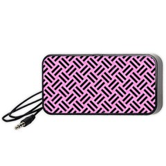 Woven2 Black Marble & Pink Colored Pencil Portable Speaker by trendistuff