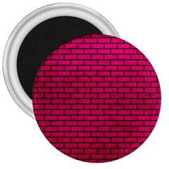 Brick1 Black Marble & Pink Leather 3  Magnets by trendistuff