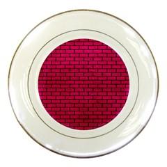 Brick1 Black Marble & Pink Leather Porcelain Plates by trendistuff