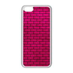 Brick1 Black Marble & Pink Leather Apple Iphone 5c Seamless Case (white) by trendistuff