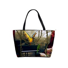 Funny Parrots In A Fantasy World Shoulder Handbags by FantasyWorld7