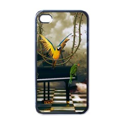 Funny Parrots In A Fantasy World Apple Iphone 4 Case (black) by FantasyWorld7