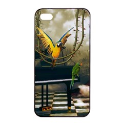 Funny Parrots In A Fantasy World Apple Iphone 4/4s Seamless Case (black) by FantasyWorld7