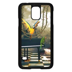 Funny Parrots In A Fantasy World Samsung Galaxy S5 Case (black) by FantasyWorld7