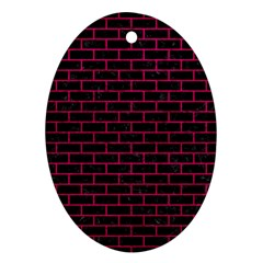 Brick1 Black Marble & Pink Leather (r) Ornament (oval) by trendistuff