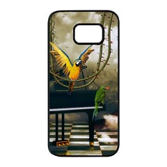 Funny Parrots In A Fantasy World Samsung Galaxy S7 Edge Black Seamless Case by FantasyWorld7