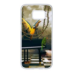 Funny Parrots In A Fantasy World Samsung Galaxy S7 Edge White Seamless Case by FantasyWorld7