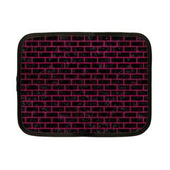 Brick1 Black Marble & Pink Leather (r) Netbook Case (small)  by trendistuff