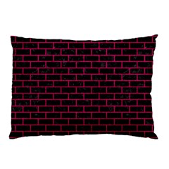 Brick1 Black Marble & Pink Leather (r) Pillow Case by trendistuff