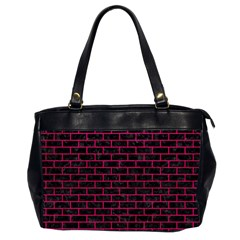 Brick1 Black Marble & Pink Leather (r) Office Handbags (2 Sides)  by trendistuff