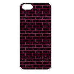 Brick1 Black Marble & Pink Leather (r) Apple Iphone 5 Seamless Case (white) by trendistuff