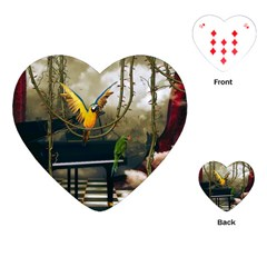 Funny Parrots In A Fantasy World Playing Cards (heart)  by FantasyWorld7