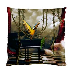 Funny Parrots In A Fantasy World Standard Cushion Case (two Sides) by FantasyWorld7