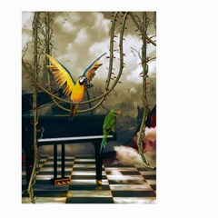Funny Parrots In A Fantasy World Large Garden Flag (two Sides) by FantasyWorld7