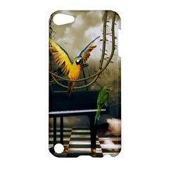 Funny Parrots In A Fantasy World Apple Ipod Touch 5 Hardshell Case by FantasyWorld7