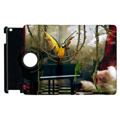 Funny Parrots In A Fantasy World Apple Ipad 3/4 Flip 360 Case by FantasyWorld7