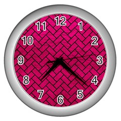 Brick2 Black Marble & Pink Leather Wall Clocks (silver)  by trendistuff