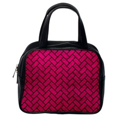 Brick2 Black Marble & Pink Leather Classic Handbags (one Side) by trendistuff
