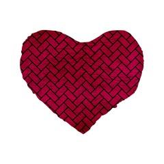 Brick2 Black Marble & Pink Leather Standard 16  Premium Flano Heart Shape Cushions by trendistuff