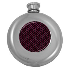 Brick2 Black Marble & Pink Leather (r) Round Hip Flask (5 Oz) by trendistuff