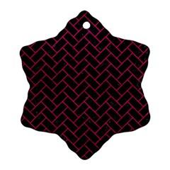 Brick2 Black Marble & Pink Leather (r) Ornament (snowflake) by trendistuff