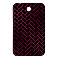 Brick2 Black Marble & Pink Leather (r) Samsung Galaxy Tab 3 (7 ) P3200 Hardshell Case  by trendistuff