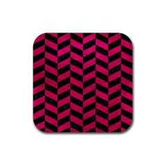 Chevron1 Black Marble & Pink Leather Rubber Square Coaster (4 Pack)  by trendistuff