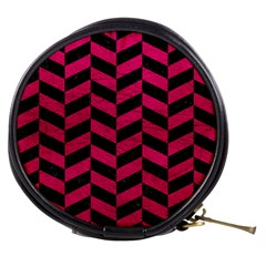 Chevron1 Black Marble & Pink Leather Mini Makeup Bags by trendistuff