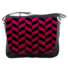 Chevron1 Black Marble & Pink Leather Messenger Bags by trendistuff