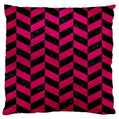 Chevron1 Black Marble & Pink Leather Standard Flano Cushion Case (one Side) by trendistuff